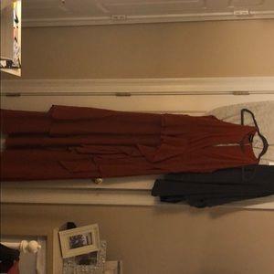 formal rust colored floor length dress